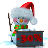 Snowman christmas sale 30 percent discount 3d illustration. Over white background Royalty Free Stock Images