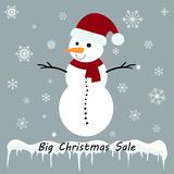 Snowman with Christmas sale tag on a grey background. Vector Royalty Free Stock Photo
