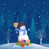 Snowman Christmas scene royalty free illustration
