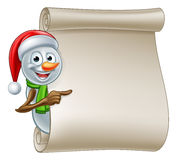 Snowman Christmas Scroll Stock Image