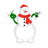 Snowman with christmas snake Royalty Free Stock Image