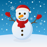 Snowman Christmas on the Snow. Happy cartoon snowman character with red scarf and gloves in a snowy scene. Eps file available Royalty Free Stock Images