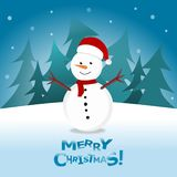 Snowman in Christmas snow scene winter landscape. Merry Christmas! Snowman in Christmas snow scene winter landscape royalty free illustration