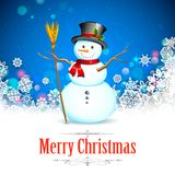 Snowman in Christmas Snowflakes Background Stock Image