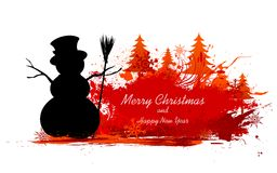 Snowman in Christmas Snowflakes Background Royalty Free Stock Photo