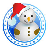 Snowman christmas stamp Stock Images