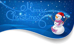 Snowman with Christmas text Royalty Free Stock Images