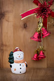 Snowman christmas toy on wooden background. Xmas Stock Photography