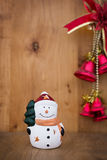 Snowman christmas toy on wooden background. Xmas Royalty Free Stock Photography