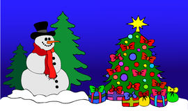 Snowman with Christmas Tree. Illustration of a Snowman with Christmas Tree Royalty Free Stock Photo