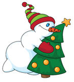 Snowman and Christmas tree. Illustration of a snowman and Christmas tree Royalty Free Stock Image