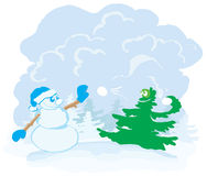 Snowman and Christmas tree Stock Photos