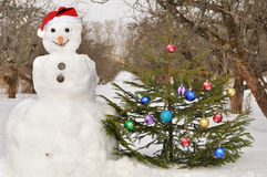 Snowman with  christmas tree Stock Image