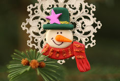 Snowman and Christmas tree Royalty Free Stock Photo