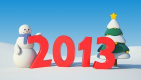 Snowman, Christmas tree and 2013 text Royalty Free Stock Images