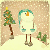 Snowman and Christmas tree. Christmas card - snowman and Christmas tree - illustration in retro style Royalty Free Stock Images