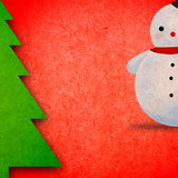 Snowman and Christmas tree. Royalty Free Stock Images