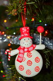 Snowman on Christmas tree Royalty Free Stock Image