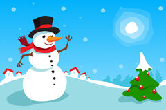 Snowman and Christmas tree. Illustration of snowman and Christmas tree in blue winter scene Royalty Free Stock Photography