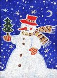 Snowman with a Christmas tree. Image of my batik artwork with a snowman with a christmas tree Royalty Free Stock Photos
