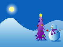 Snowman And Christmas Tree. A snowman decorating a Christmas tree Stock Image