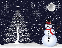 Snowman and Christmas Tree. Snowman and white Christmas tree background designed in Illustrator Stock Image