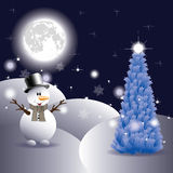 Snowman and Christmas Tree Stock Images
