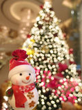 Snowman with christmas tree. Royalty Free Stock Photos
