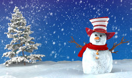 Snowman and Christmas tree. In the background Royalty Free Stock Photography