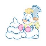 Snowman Christmas Tree cartoon. Illustration isolated image Stock Photography