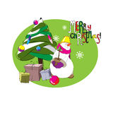 Snowman with Christmas tree. Christmas. Winter. Design for a printed matter on fabric, paper, ceramics Stock Image