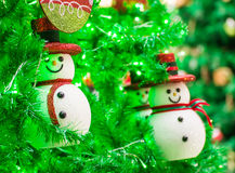 Snowman on christmas tree Royalty Free Stock Photography