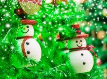 Snowman on christmas tree Royalty Free Stock Photo