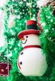 Snowman on christmas tree Royalty Free Stock Photos