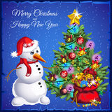 Snowman with Christmas tree with colorful gifts Stock Images
