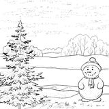 Snowman and Christmas tree, contours Stock Photos