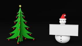 Snowman christmas tree. Snowman with christmas tree  3d Stock Photography