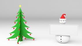 Snowman christmas tree. Snowman with christmas tree  3d Royalty Free Stock Photos