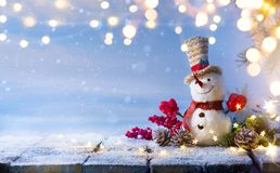 Christmas Snowman and Christmas tree decoration; stock images