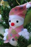 Snowman on the Christmas tree with decorations on special days.  royalty free stock image