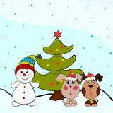 Snowman, Christmas tree and dogs.  Stock Image
