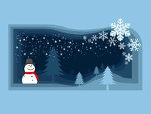Snowman and christmas tree in the field which have snowflake fal Stock Images
