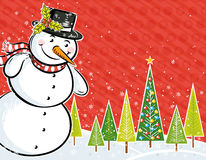 Snowman and christmas tree in a forest Royalty Free Stock Photography