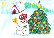 Snowman and Christmas tree. In front of house Stock Photos