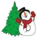 Snowman and christmas tree. Funny snowman dancing near the green christmas tree Royalty Free Stock Photos