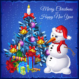 Snowman with Christmas tree and gifts. On a blue background Stock Photography
