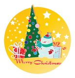 Snowman, Christmas tree and gifts. Royalty Free Stock Image
