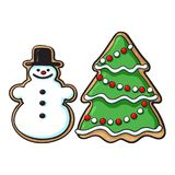 Snowman, Christmas tree glazed gingerbread cookies. Glazed snowman and Christmas tree gingerbread cookies, sketch style vector illustration isolated on white Royalty Free Stock Images