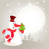 Snowman with Christmas tree - greeting card. 10eps Stock Image