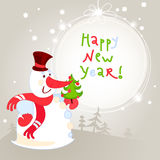 Snowman with Christmas tree - greeting card. 10eps Royalty Free Stock Photo